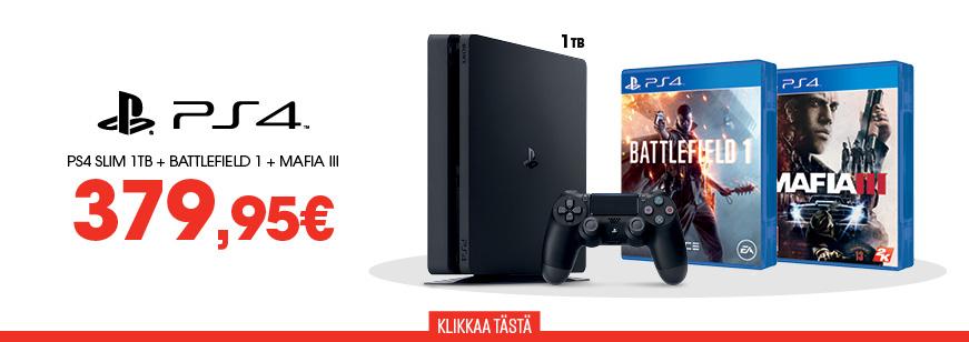 PS4 Slim 1TB + Battlefield 1 + Mafia 3