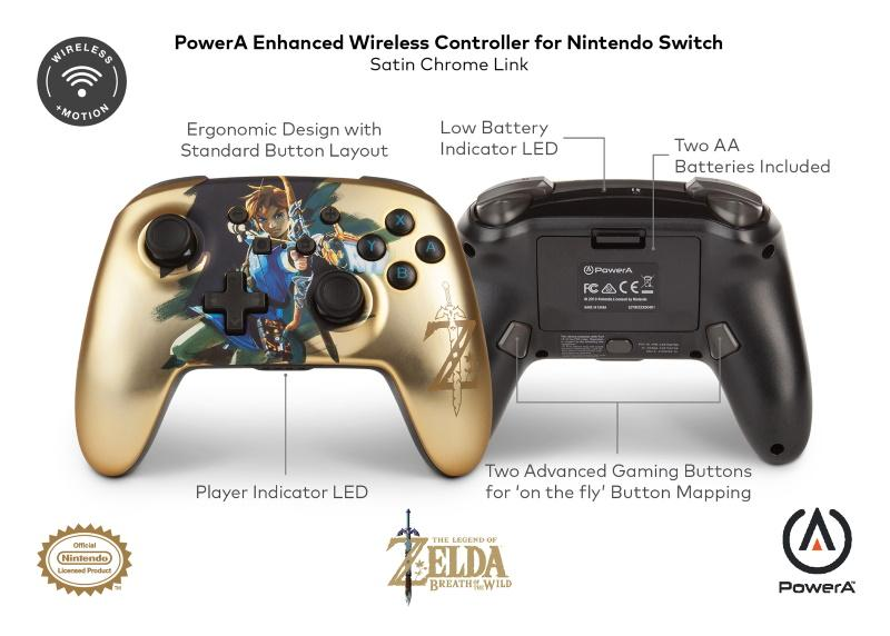 PowerA Satin Chrome Link Enhanced Wireless Controller till Switch [Endast Hos GameStop]
